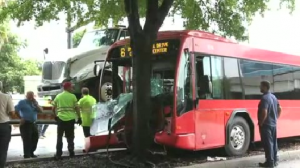 Bus 21 300x168 Lynx bus in crash with tractor trailer downtown.